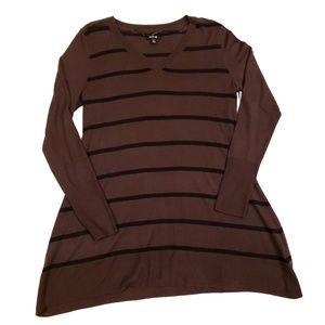 Apt. 9 Brown Striped V-neck Oversized Sweater